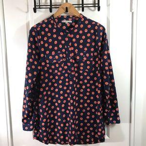 Gap Blue and Orange Polka Dot Medium Shirt Top